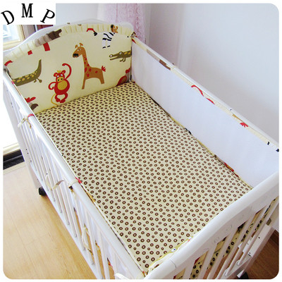 Promotion! 5PCS Baby Bumper newborn baby crib bedding set for boys 100% cotton,Reactive,include:(4bumper+sheet)