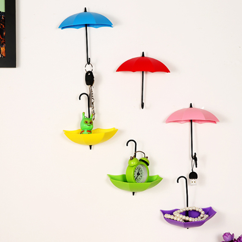 3pcs Fashion Umbrella Shape Self Adhesive Wall mount Door Hook Hanger wall hooks Bag Key holder Keyring gift home decor