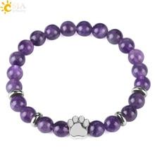 CSJA Hot Selling Natural Stone Bear Paw Bracelet Mala Bead Yoga Purple Crystal L