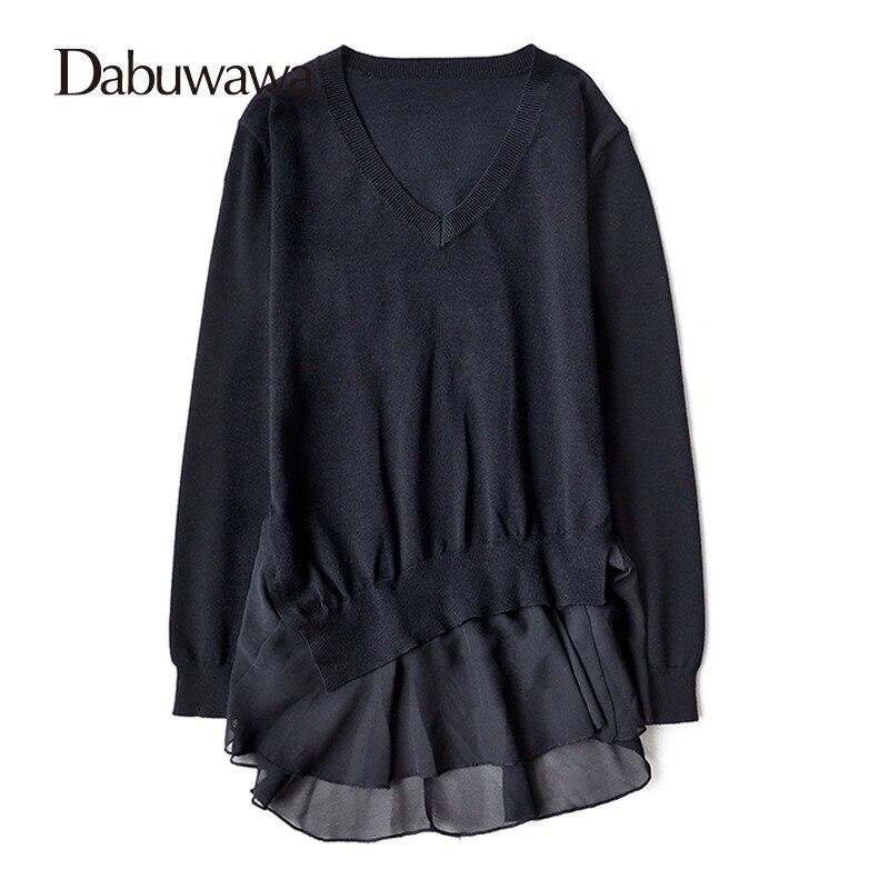Dabuwawa Fashionable Sweater V-Neck Knitwear Long Sleeve Loose Female New 2017 Autumn Winter Casual Jumper #D17CJS010