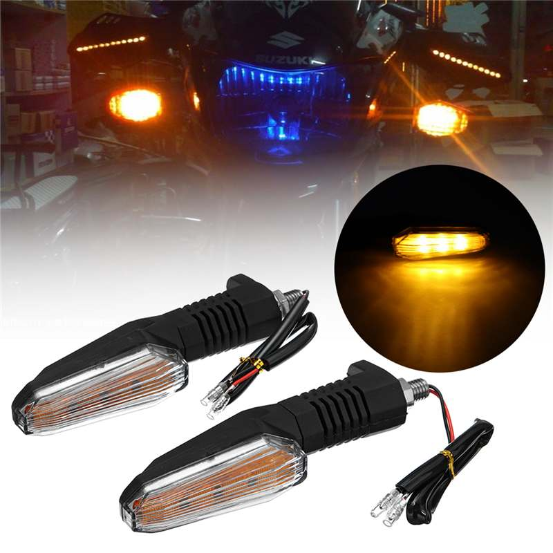 2pc 12V General Motorcycle LED Turn Signal Lights Indicator Lamps Amber Blinker Light Flashers Lighting Motorcycle Accessories