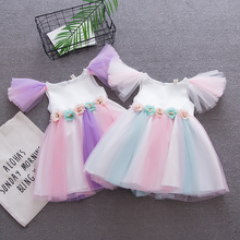 toddler girls Unicorn dress infant girl rainbow colors tulle with unicorn headband lovely kids sundress for party
