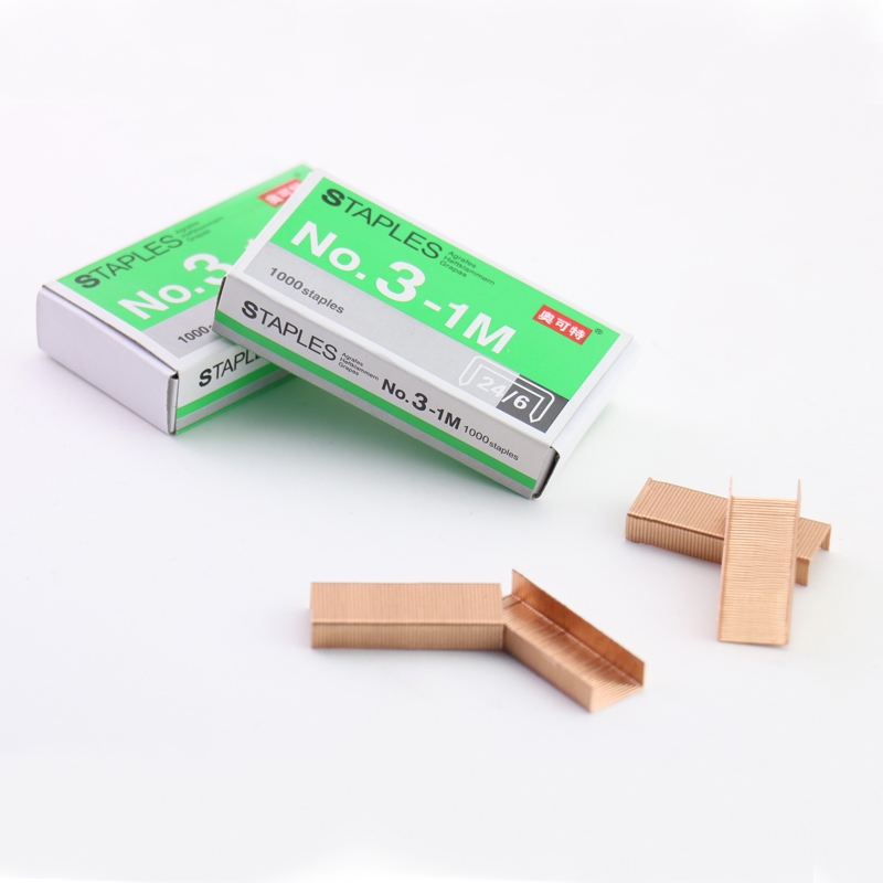 TUTU Creative Rose Gold Staples Metal Staple For Staplers 2017 Trend Office Accessories 24/6 Stationery Supplies H0106