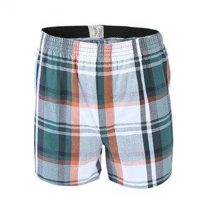 Image 4 - 5 Pcs Heren Ondergoed Boxers Shorts Casual Katoen Slaap Onderbroek Kwaliteit Plaid Losse Comfortabele Homewear Gestreepte Pijl Slipje