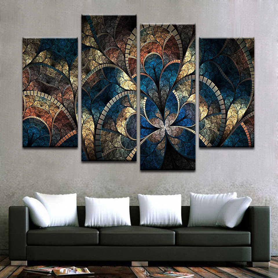 Home Decoration HD Framework Tableau Modern Abstract Flower Painting Canvas Modular Print Wall Art Pictures For Living Room