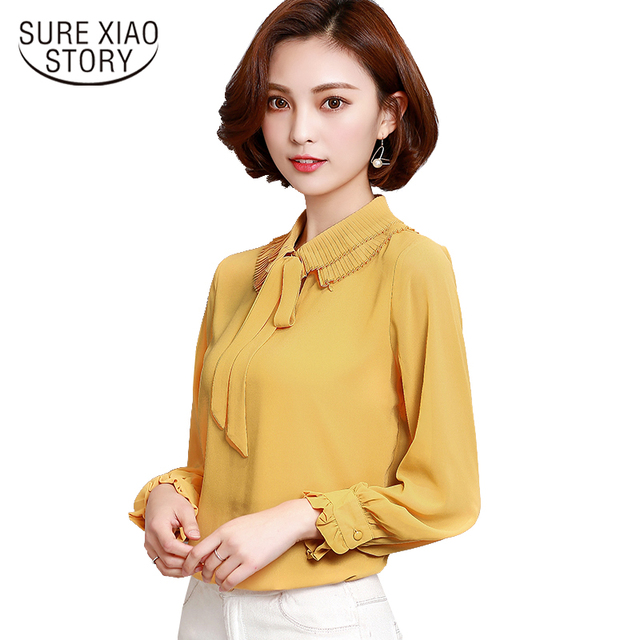 2017 autumn new long-sleeved bow neck women's chiffon blouse fashion fresh casual loose solid women shirt top blusas 920H 30
