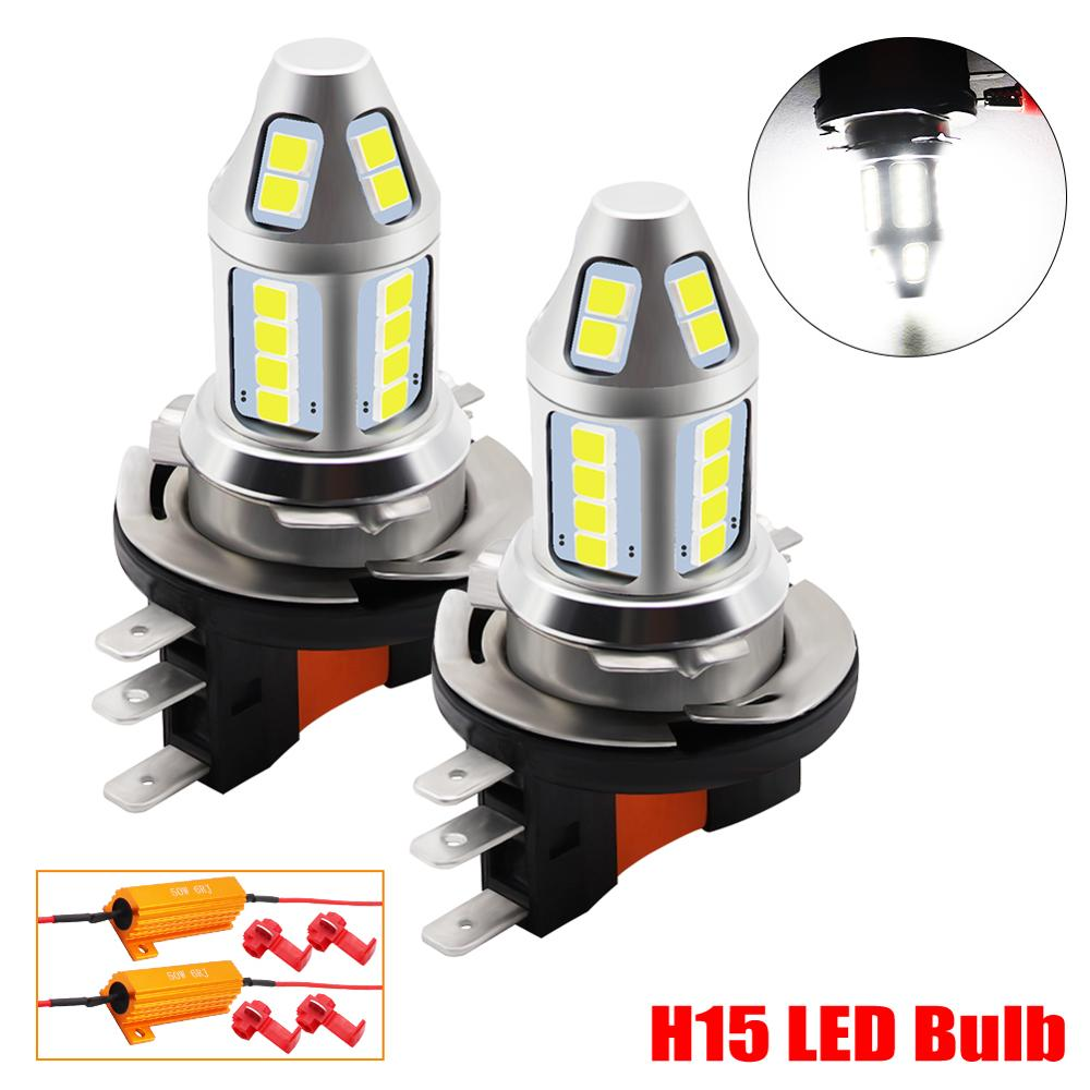 2pcs H15 LED Car Fog Lamp 150W With Decoder High Power 3030 Chip White Waterproof Auto Front Headlamp Fog Driving Lights 12V 24V