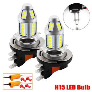 Image 1 - 2pcs H15 LED Car Fog Lamp 150W with Decoder High Power 3030 Chip White Waterproof Auto Front Headlamp Fog Driving Lights 12V 24V