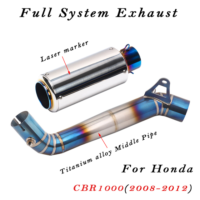 Pełny układ laserowy Marker wydechowy motocykla ze stopu tytanu środkowa rura łącząca do Honda CBR1000 CBR1000RR 2008 do 2012 lat