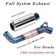 Volledige Systeem Laser Marker Motorfiets Uitlaat Met Titanium Legering Midden Link Pijp Voor Honda CBR1000 CBR1000RR 2008 2012 Jaar