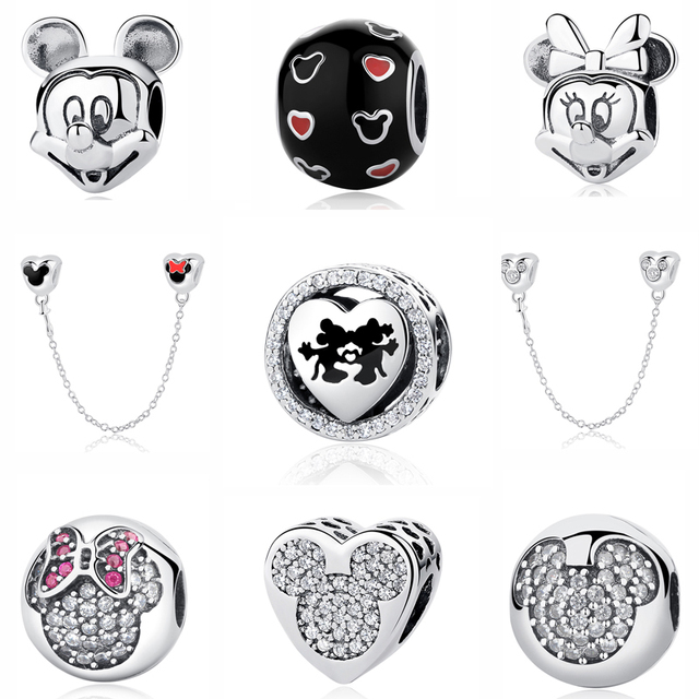Fashion 100% 925 Sterling Silver Beads Charm Cute Mouse Sparkling Heart Charms Fit Original Pandora Bracelets & Bangles Jewelry