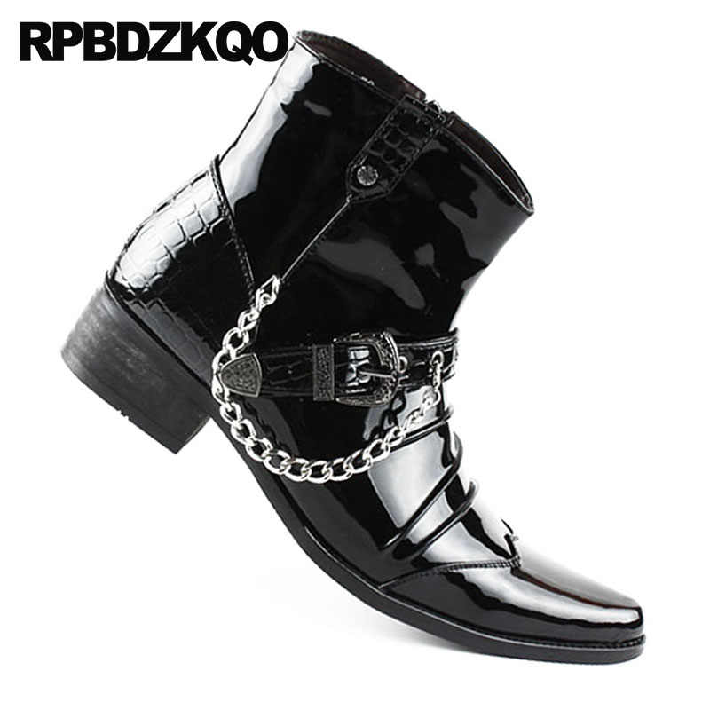 6bebd19ff6b Rivet Punk Snakeskin Mens Black Patent Leather Boots Rock Booties Pointed  Toe Fall Shoes Stud British Style Metalic Chunky Ankle