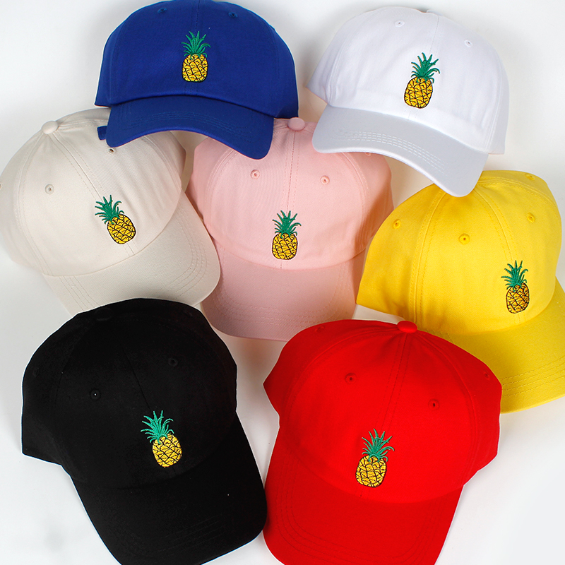high quality Pineapple Embroidery   Baseball     Cap   Women Men 100% Cotton Dad   Cap   Fruit Snapback hip hop Dad Hat Trucker Casquette