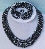 Hot 2014 nuovo stile di modo di trasporto libero Nobili 4 file 6-7mm black pearl del braccialetto della collana set BV172