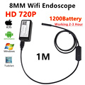 Iphone endoscopio hd 720 p 1 m 2 m 3 m 5 m wifi boroscopio endoscopio 8mm 720 p cámara impermeable endoscopio android ios wifi endoskop