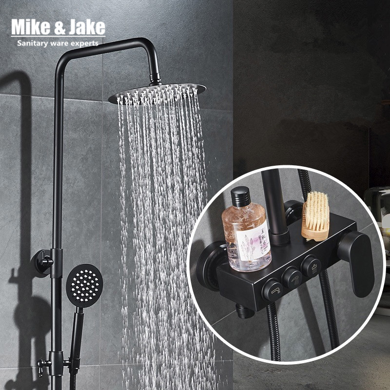 Black Luxury black Brass shower set with bidet shower press button control smart black Shower faucet