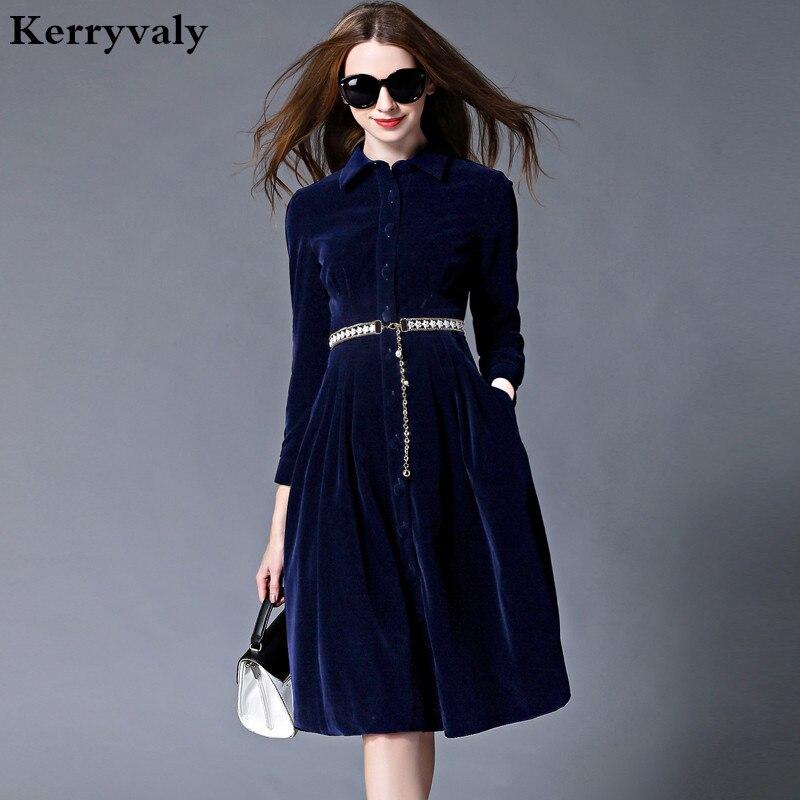 OL Стиль Синий бархатное платье зимние платья женские 2018 Vestido Longo женские с длинным рукавом офисное платье ropa mujer Robe Longue 732102