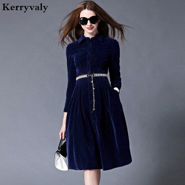 f2cf35bc853d OL Stil Blau Samt Kleid Winter Kleider Frauen 2018 Vestido Longo Frau  Langarm Büro Kleid Ropa