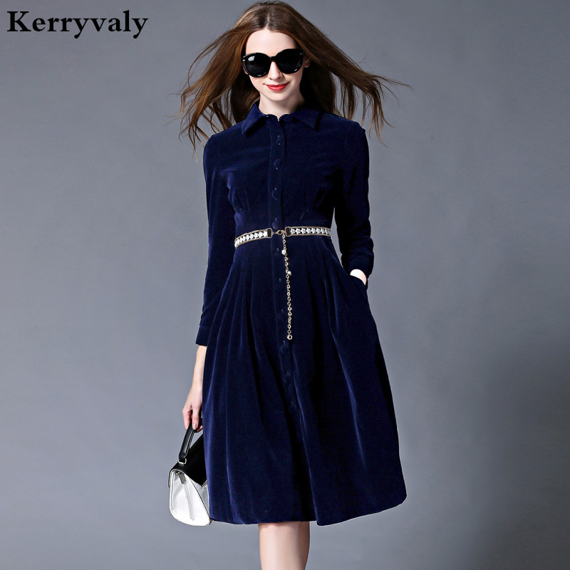 OL Style Modrý Sametové šaty Zimní šaty Ženy 2018 Vestido Longo Žena s dlouhým rukávem Kancelářské šaty Ropa Mujer Robe Longue 732102