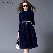 OL Style Blue Velvet Dress Winter Dresses Women 2019 Vestido Longo Woman Long Sleeve Office Dress Ropa Mujer Robe Longue 732102