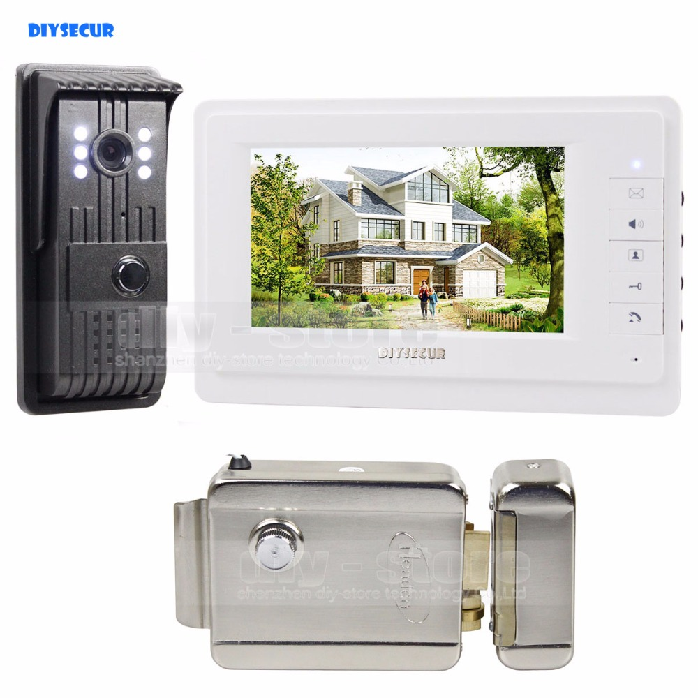 DIYSECUR Electric Lock Aluminum Alloy Camera 7 inch TFT Color LCD Display Video Door Phone Intercom Doorbell V70T-F video phone intercom with door rfid electric lock intercom camera video doorbell for 6 apartments 7inch color tft lcd monitor
