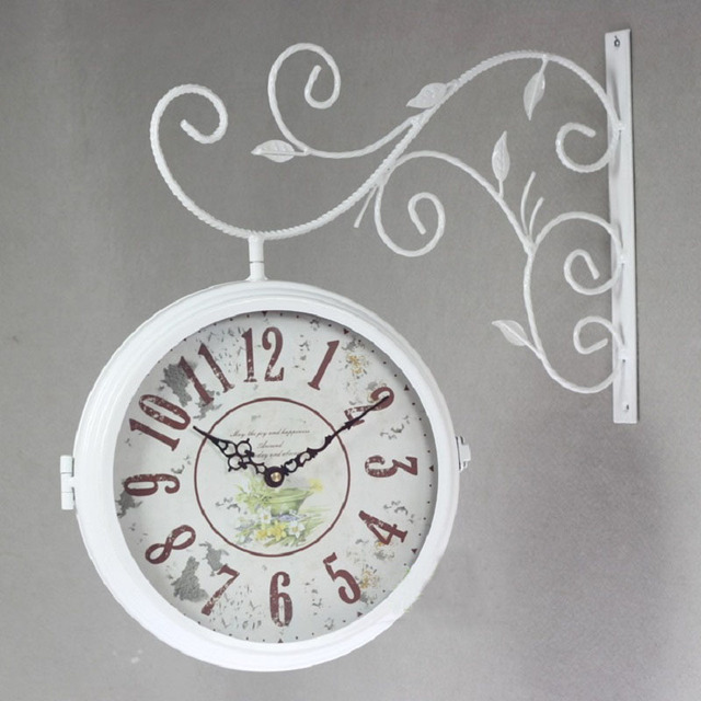 double sided wall clock watch vintage clocks saat relogio parede wrought iron wall clock metal horloge