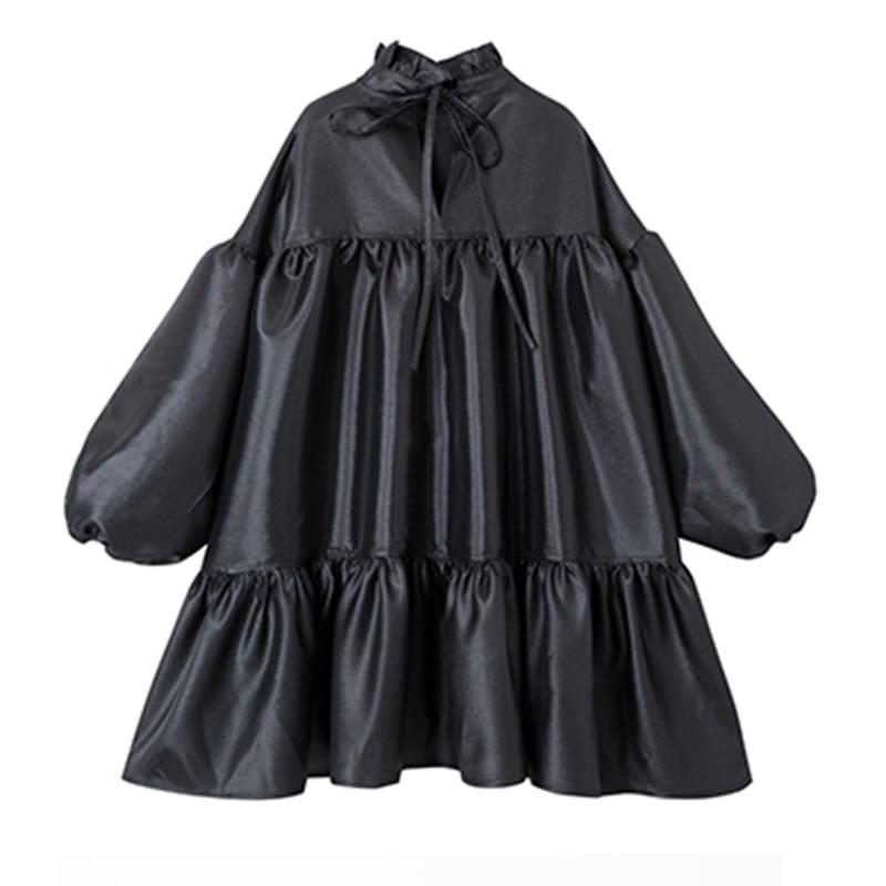 xitao Mode Col 2019 Ample Femmes Femelle Manches Corée Black Complet De Montant Bandage Robe Décontractée Couleur Solide Nouveau Printemps Dll3292 La Tenue rIrAqng85