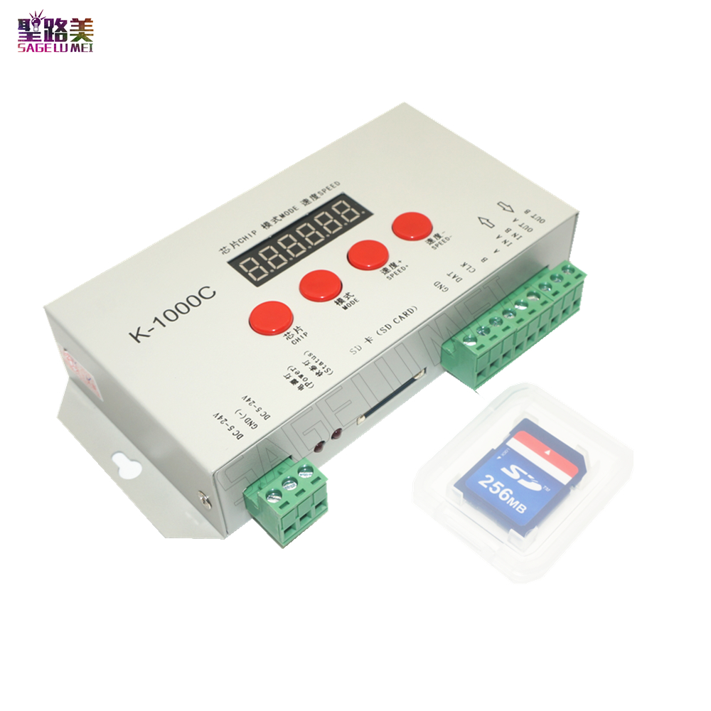 Free Shipping DC5V-24V K-1000C Controller (T-1000S Updated)WS2812B,WS2811,APA102,SK6812,2801 LED 2048 Pixels Program Controller