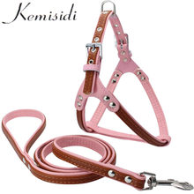 KEMISIDI Hot Pet Dog Harness Puppy Dog Kerah Bling Berlian Imitasi Mewah PU Kulit Baru Keselamatan Kontrol Berjalan Ekstra Dada 44-54 cm(China)