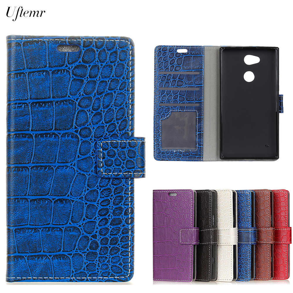 Uftemr Vintage Crocodile PU Leather Cover For Sony Xperia XA2 Ultra Protective Silicone Case Wallet Card Slot Phone Acessories