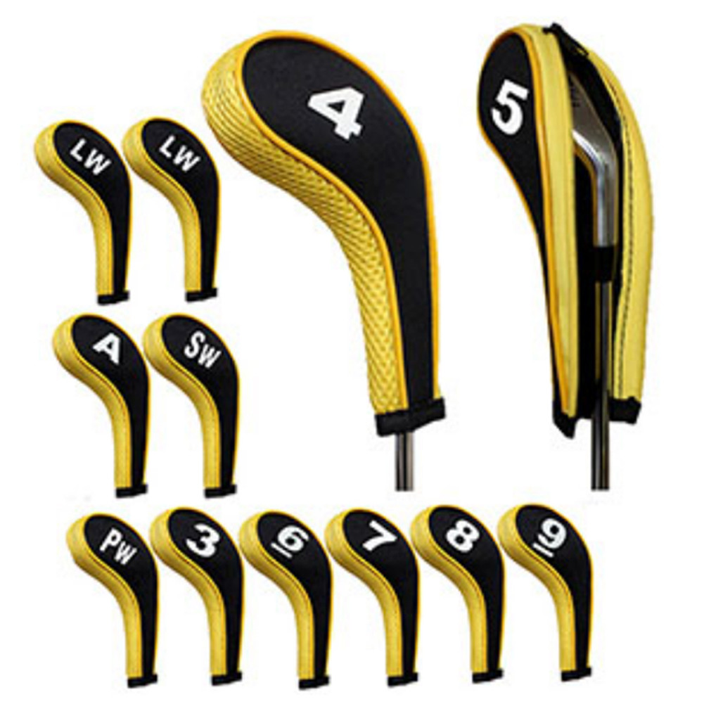 New 12 Pcs Golf Club Head Iron Covers Zippered Neoprene Protective Portable Durable Tool XD88