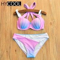 HYCOOL 2017 Sexy Bikini Bandeau Shell Cup Bikini Colorful Girl Swimsuit Women Swimwear Trikini Biquinis Brazilian