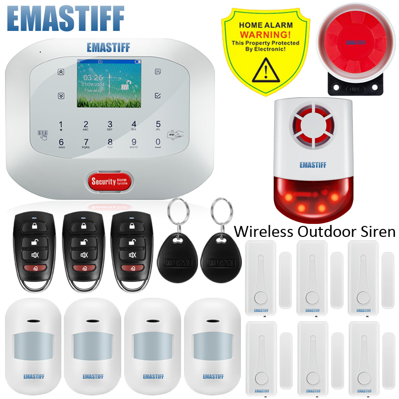 APP RFID Control G5A GSM PSTN SIM Card SOS Gap Home Security Alarm System Menu Screen Waterproof Remote Control Touch Keyboard