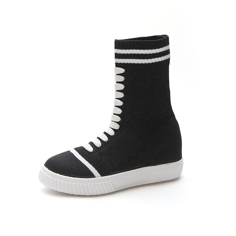 Lace Mujer Automne Zapatos Chaussette Tricoter Tige up Appartements forme Haute Noir Tissu Extensible Respirant Nouveau Plate Chaussures À Femmes IxfPW6qpw