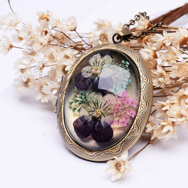 SEDmart Real Dried Pansy Flower Locket Pendant Necklaces Vins