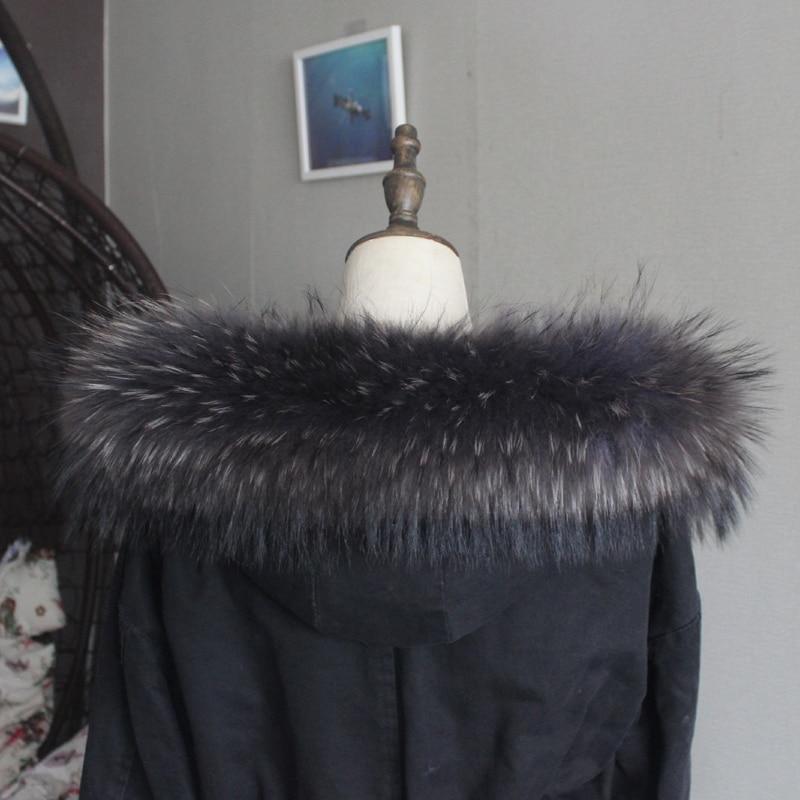 Зимняя куртка из натурального меха, воротник из натурального меха енота, женские шарфы, пальто, женская шапка, длинный теплый шарф из натурального меха, большой размер - Цвет: Dark gray black tip