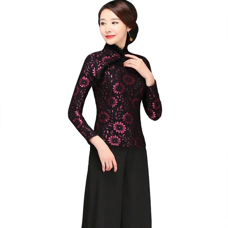 Violet femmes chinois ethnique fleur dentelle chemise col en fourrure 2019 printemps nouveau chaud épais Blouse grande taille 3XL 4XL Tang vêtements