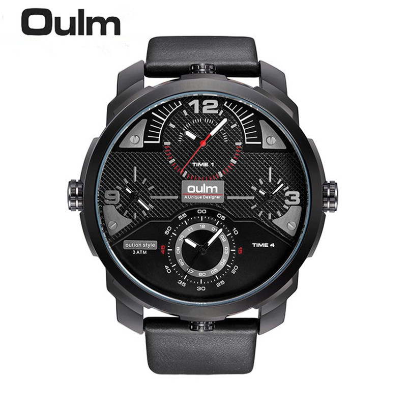 Top Business Watch Genuine Leather Band 4 time Zone Japan Quartz Movement Waterproof Oulm Watch Men Gift Clock relogio masculino oulm brand mens leather band japan movt quartz watch dual time zone fashion hit color wristwatches with gift box relogio releges