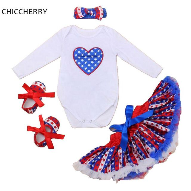 85d38bde36d Stars Print Winter Baby Girl Clothes American Toddler 4th of July Outfits Infant  Bodysuit Set Headband
