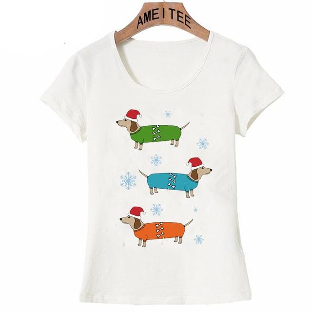 9b9c4d66e2 Christmas Dachshund Sausage Dogs T-Shirt Women short sleeve cute animal  print T Shirt casual female Tops girl funny Tees