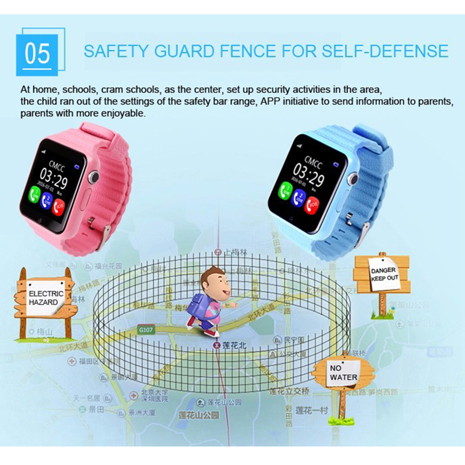 SIKEMEI Kids GPS Smart Watch Safe Watch Phone Location Finder Tracker Camera Anti lost SOS Call Waterproof V7K for Android iOS in Smart Watches from Consumer Electronics