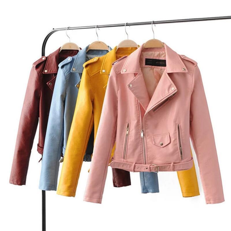 2018 Spring womens leather jacket fashion lapel waist zipper leather jacket female