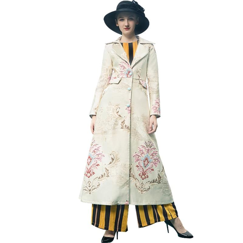 Trench Coat for Women Windbreaker Spring Autumn Long Coat Turn-down Collar Full Length Overcoat Runway Maxi Coat 9087