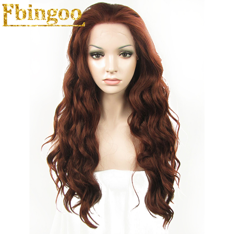 Ebingoo High Temperature Fiber Peruca Reddish Brown Synthetic Lace Front Wig Natural Hairline Long Body Wave