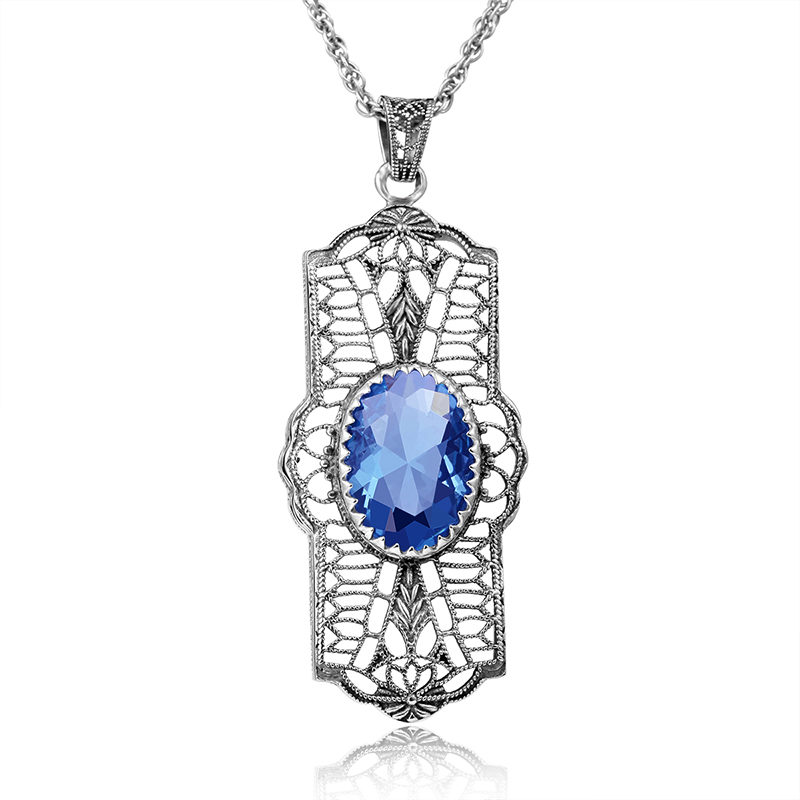 Vintage Women Necklace Pendant Palace Hollow 925 Silver Flower Semi Precious Stone Pendant Wedding Party Fine Jewelry Trendy