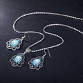 11.11 Antique Flower Shape Halloween Dubai Jewelry Sets Blue AAA Crystal Women Necklace Pendant Earrings/Set Bridal Jewelry Sets