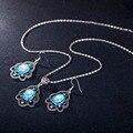 11.11 Forma de Flor Antigo Halloween Dubai Conjuntos de Jóias Azul AAA Cristal Mulheres Colar Pingente Brincos/Set Conjuntos De Jóias de Noiva