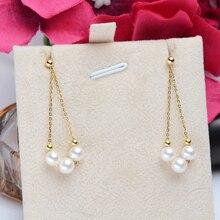Pendiente de gota de oro Sinya Au750 con perlas redondas naturales de alto brillo cadena larga borla DIY pendiente de cuentas de oro para mujer 2019