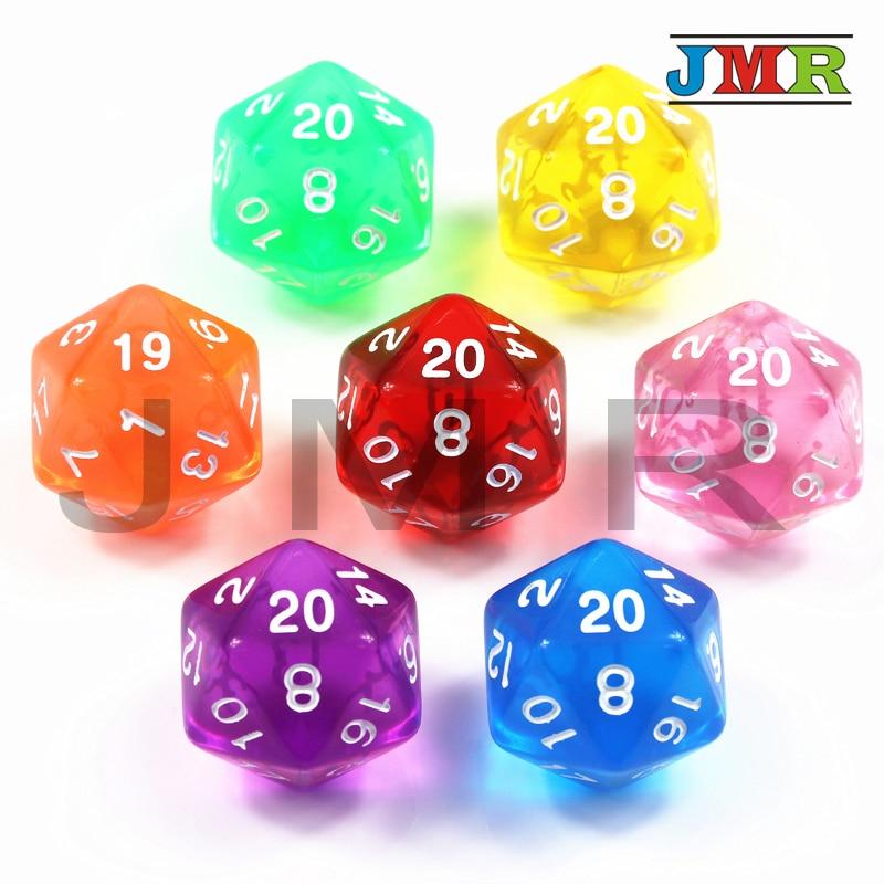 Высокое качество 1 шт трпг D20 кости для Подземелья и Драконы 20 Двусторонняя игральные кости 7 цветов настольные игры штук Dnd, rpg Dice