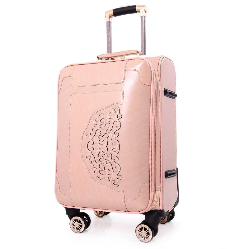 Bagages wine Pink Roulettes Valises Version En À Chariot Beasumore Passe Femmes Coréenne Pouce Pu Cuir Main De khaki brown Spinner Roue Mot 20 Bagage Voyage EqF1SwS